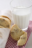 Nut biscuits and glass of milk