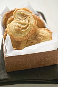 Palmiers (puff pastry biscuits) in box