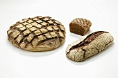 Three different loaves of wood-oven bread