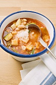 Minestrone with grated cheese