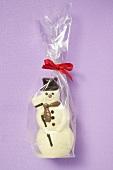 Chocolate snowman in cellophane bag