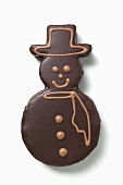 Snowman biscuit with chocolate icing