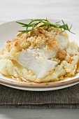 Haddock with potato crust on mashed potato