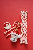 Father Christmas biscuit, candy canes & Christmas tree ornament