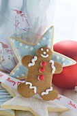 Assorted Christmas biscuits, ribbon, Christmas bauble