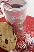 Christmas drink with sweets and cranberry cookie