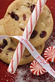 Cranberry cookies, candy cane and peppermints