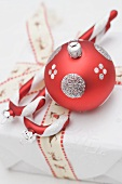 Christmas tree ornaments on Christmas parcel