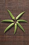 Seven okra pods arranged in a star shape