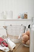 Various baking ingredients and utensils in kitchen