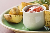 Ketchup and roast potatoes (to serve with steak)