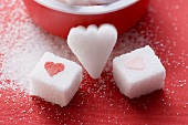 Sugar lumps, heart-shaped and with hearts