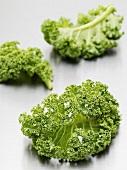 Three kale leaves