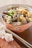 Gebratener Reis mit Rindfleisch und Gemüse (Asien)