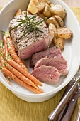 Fillet steak with carrots and potatoes