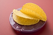 Two taco shells on Mexican plate