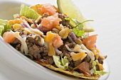 Mince taco in white dish (close-up)