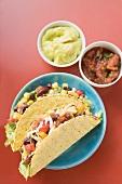 Vegetable tacos, guacamole, salsa (Mexico)