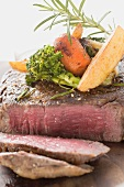 Sirloin steak with vegetables and rosemary