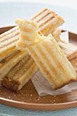 Cheese toasties on round tray