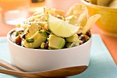 Vegetable salad with tortilla chips (Mexico)