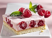 Raspberry quark slice with fresh mint