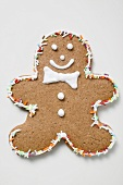 Gingerbread man decorated with sprinkles