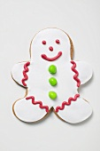 Gingerbread man decorated with white icing
