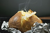 Steaming baked potato