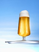 Glass of pils on tray
