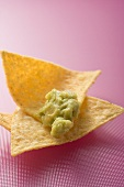 Guacamole on tortilla chip