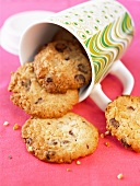 Chocolate chip cookies in an upset mug