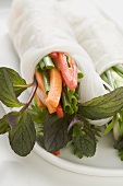 Rice paper roll filled with vegetables, glass noodles & herbs