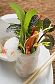 Rice paper roll filled with vegetables, noodles & herbs, chilli sauce