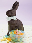 Chocolate Easter Bunny and coloured sugar eggs
