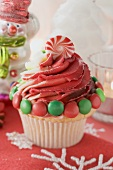 Cupcake decorated with Christmas sweets