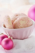Christmas biscuits with pink sugar, Christmas baubles