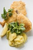 Backhähnchen mit Kartoffelsalat, Feldsalat und Zitrone
