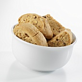 Greek almond biscuits in white bowl