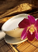 Coconut milk in bowl with orchid