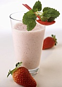 Strawberry shake with fresh mint