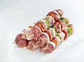 Several meat kebabs