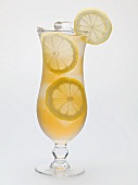 Glass of iced tea with lemon slices