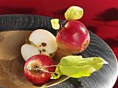 Fresh McIntosh apples in wooden bowl