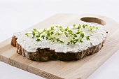 Quark and bread with fresh cress on chopping board