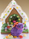 Gingerbread house for Easter and purple chick