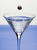 Olive fällt in Martiniglas