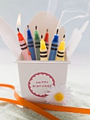 Crayon candles for a birthday