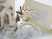 Silver reindeer and Christmas card