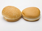 Two hamburger buns (with and without sesame seeds)
